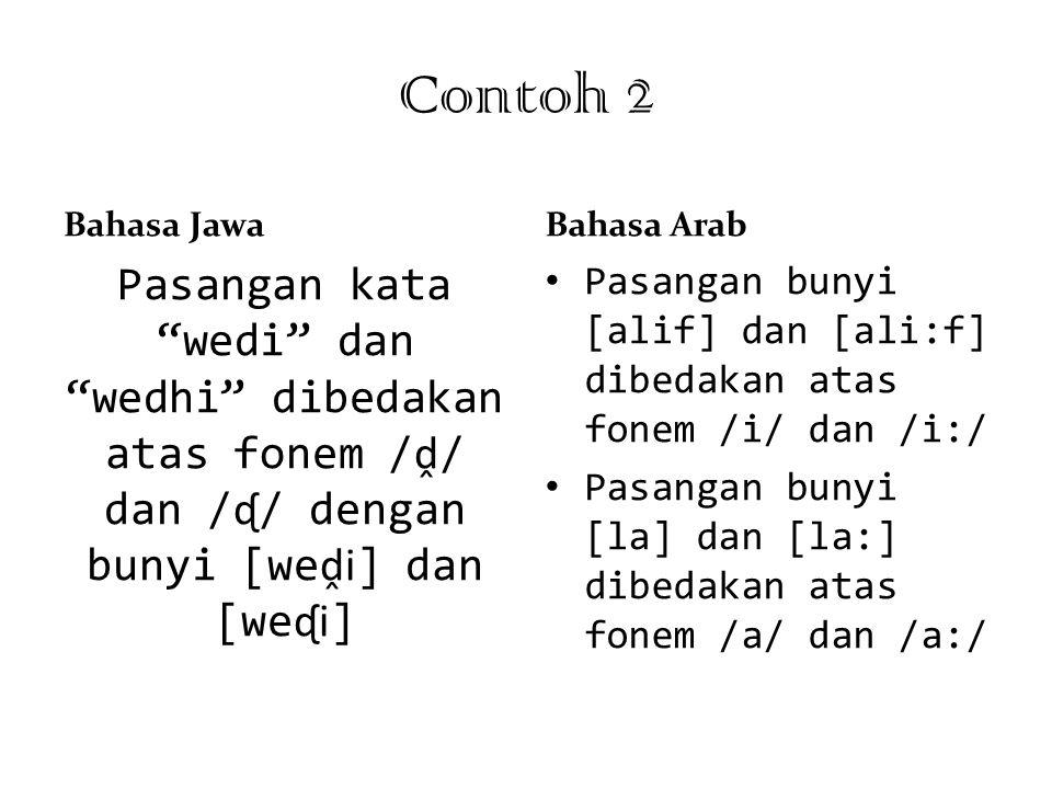 Contoh 2 Bahasa Jawa. Bahasa Arab. Pasangan kata wedi dan wedhi dibedakan atas fonem /ḓ/ dan /ᶑ/ dengan bunyi [weḓi] dan [weᶑi]